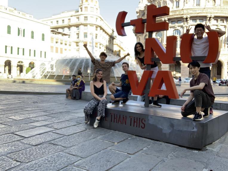 JEMARO students at Piazza de Ferrari, Genoa